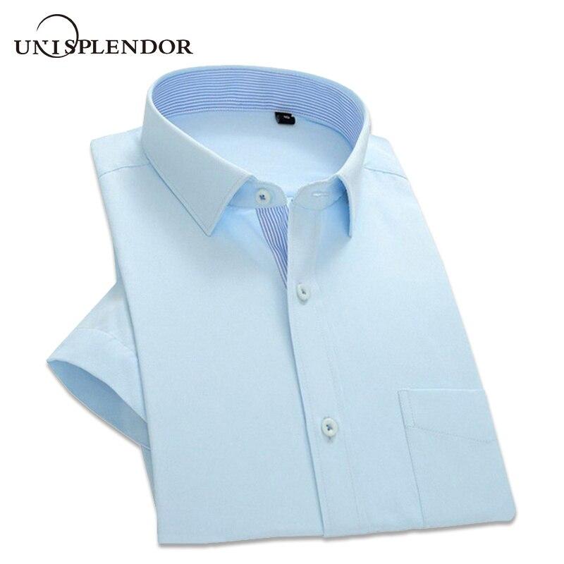 2019 Summer Men Short Sleeve Shirt Slim Fit Men's Dress Shirts Solid Color Pocket Patchwork Casual Mane Work Wear Shirts YN569