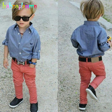 2Piece/2-8Years/Spring Autumn Children's Clothing Set Fashion Casual Blue Shirt+Red Pants Baby Boys Clothes For Kids Suit BC1238