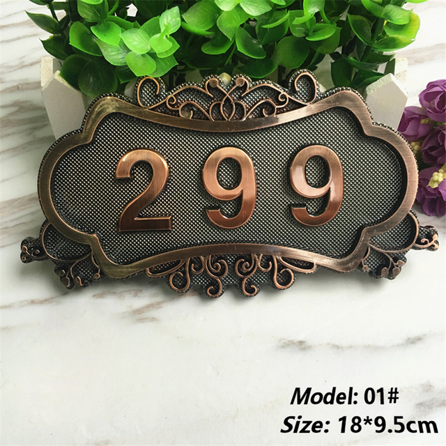 European Retro Style ABS Address Number Customized House Numbers For Home Gates Sticker Antique Copper House Number Sign