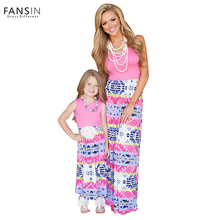 Fansin Brand Summer Mom and Daughter Dresses Family Matching Outfits Women Girls Long Dress Clothing Mother