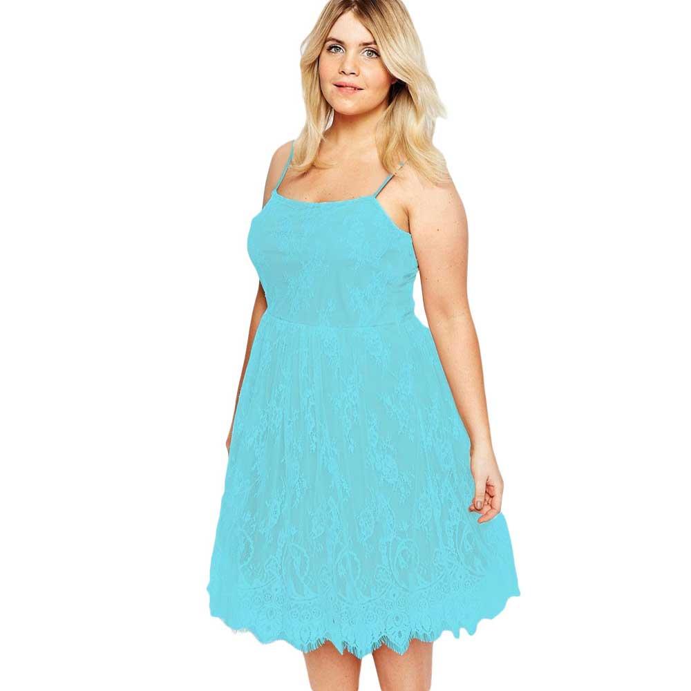 Vestidos De Renda Blue White Pink Summer Spaghetti Strap Big Girl ...