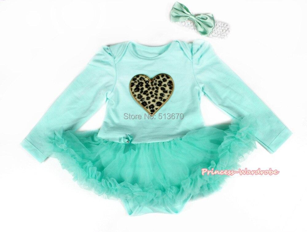 Infant Leopard Heart Aqua Blue Long Sleeve Bodysuit Blue Skirt Baby Dress NB-18M MAJSA0273
