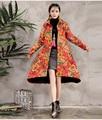 Autumn Winter Ladies Long Cotton Shirt Thicken Clothes Wool Trench Coat Female Cotton Linen Coat Ethnic Elegant Clothes 6655