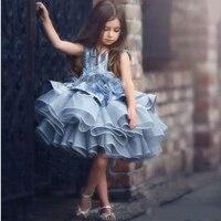 Платье в цветочек для Девочек Пышные цветы ручной работы расшитые с аппликацией из органзы для девочек Праздничное платье Дети блестками К