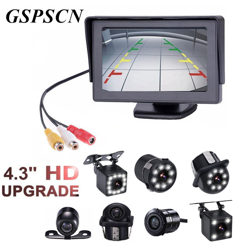 Car Backup Rear View Camera 170 Wide Angle HD CCD Night Vision 2 in1 TFT 4.3 Inch Auto TFT LCD Rearview Parking 4.3inch Monitor eagleyes ec th1029 1 4 ccd 170 wide angle car rearview camera w night vision black dc 12v