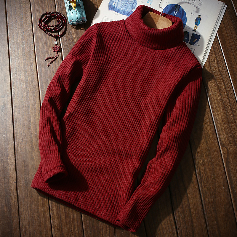 Autumn And Winter High Lapel Men's Long-sleeved Sweaters  S XL 3XL Black White Yellow Wine Red Blue Fashion Casual Man Sweater