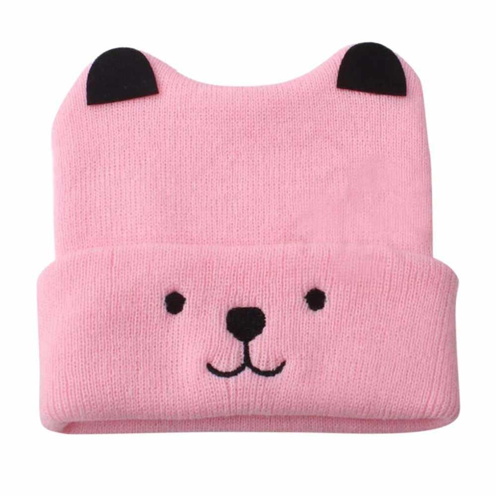MUQGEW פעוט ילדי ילדי ילדה וילד תינוק קריקטורה דוב חם סרוגה לסרוג כובע כפת כובע כובע קריקטורה דובון תינוק סרוג # EW