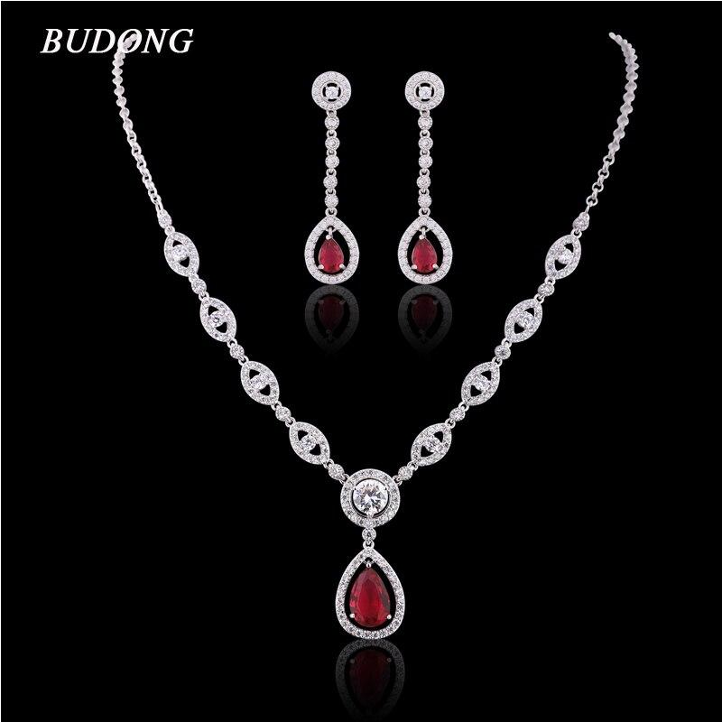 BUDONG Infinity Long pendentif boucles d'oreilles collier pour femmes couleur argent larme cristal CZ bijoux de fiançailles ensemble XUAT01