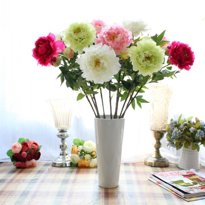 de tallo largo de seda peona flores peonas del banquete de boda de navidad la