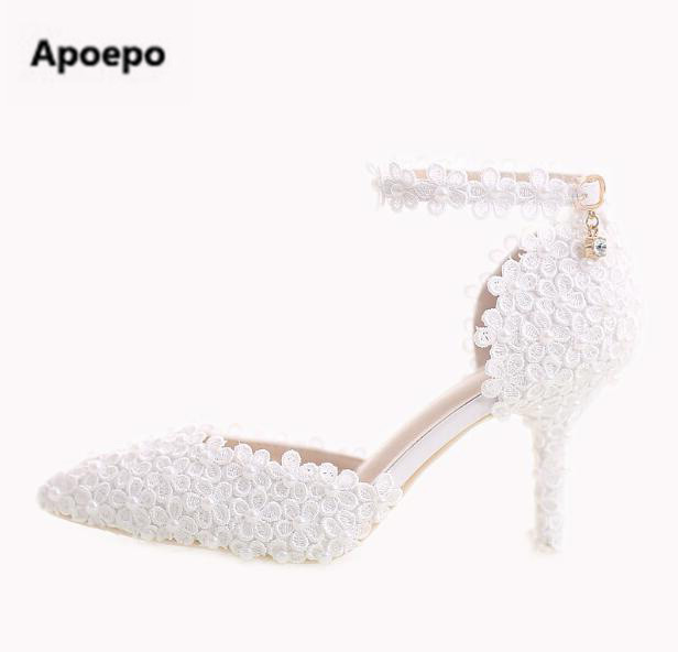 Apoepo brand 2018 zapatos mujer white pointed toe 7 cm sexy high heels pumps bride wedding shoes flower stiletto dress shoes apoepo brand 2017 zapatos mujer black and red shoes women peep toe pumps sexy high heels shoes women s platform pumps size 43