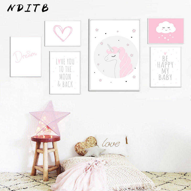 Baby Girl Nursery Wall Art Canvas Painting Pink <font><b>Unicorn</b></font> Cartoon Posters and Prints Nordic Kids <font><b>Decoration</b></font> Pictures <font><b>Bedroom</b></font> Decor image