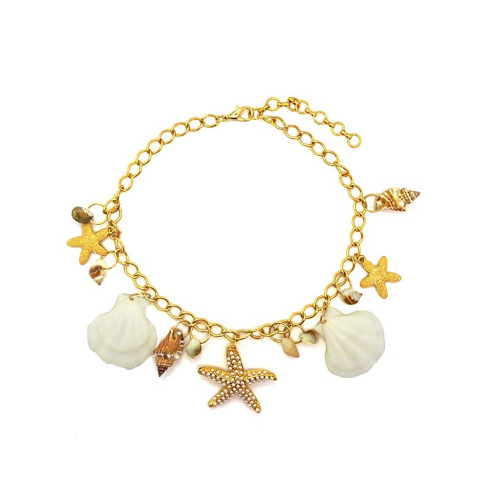 Simulated Pearl Starfish Natural Shell Conch Tassel Necklaces & Pendants  Goldcolor Chain Statement Choker