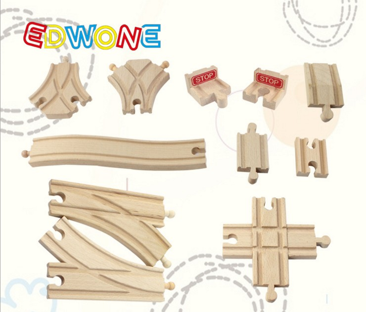 Купить с кэшбэком EDWONE Beech wood Bridge Rail Scene Track Accessories for Brio Wooden Train Educational Boy/ Kids Toy Multiple track