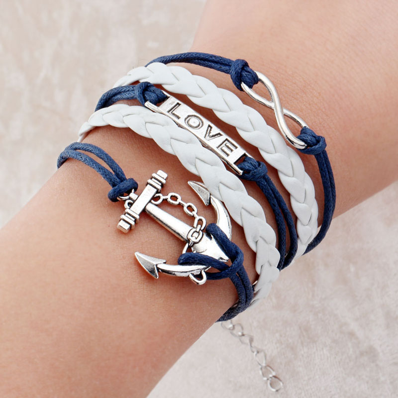 hot men fashion jewelry love owl charm anchor leather