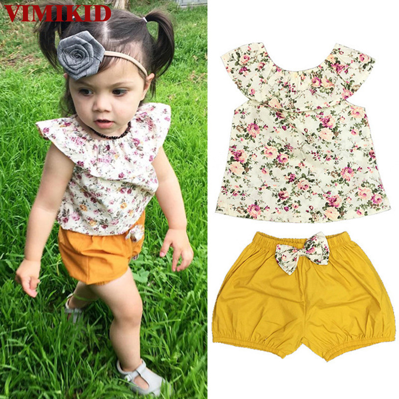 Toddler Infant Baby Girl Clothing Set Outfits Floral Shirt Tops Short Sleeve Flower Shorts Pants 2pcs Set Clothes Baby Girls 2pcs ruffles newborn baby clothes 2017 summer princess girls floral dress tops baby bloomers shorts bottom outfits sunsuit 0 24m