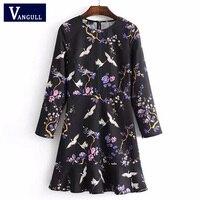 Women O Neck Ruffles Hem Floral Crane Print A Line Dress Black Spring Bird Print Long