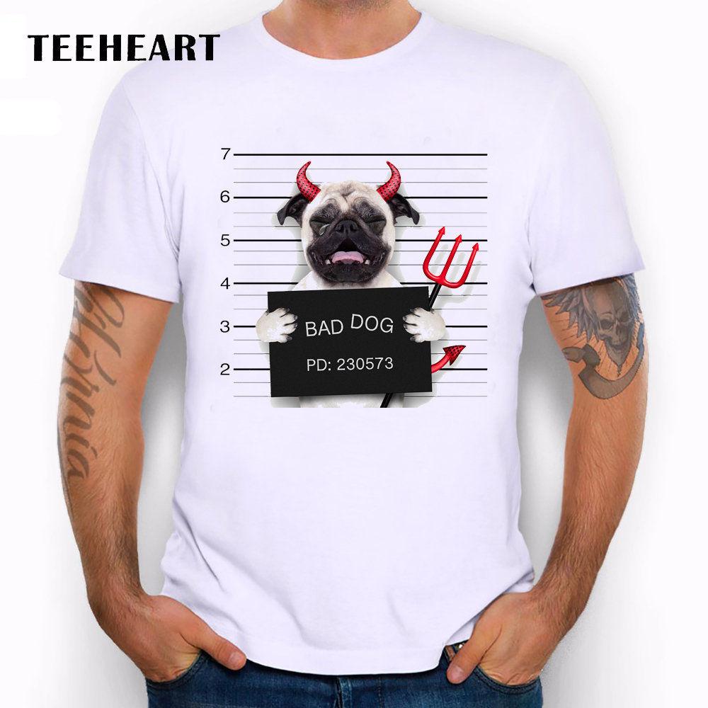 Most Wanted Bad Dog - Mugshot of Evil Pug Cry Funny Joke Men T Shirt Tee