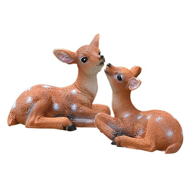 Gardening Micro-Landscape Garden Statues Resin Mini Simulated Deer Animal  Park Yard  statues For Home Living Table Decoration
