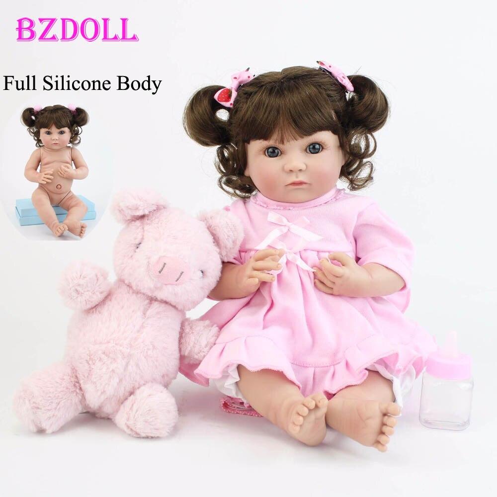 40cm Full Body Silicone Reborn Baby Doll Toys Lifelike 15 Vinyl Princess Girl Babies Doll Fashion