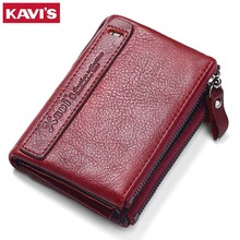 KAVIS 100 Genuine Leather Vintage Small Women Wallets Female Womens Wallet Zipper Design With Coin Purse