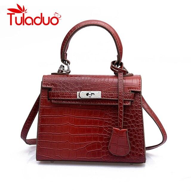 62a88bbb2eb2 Tuladuo Alligator Bag Luxury Handbags Women Bags Designer Rivet Mini Tote  Bags Leather Shoulder Bags for