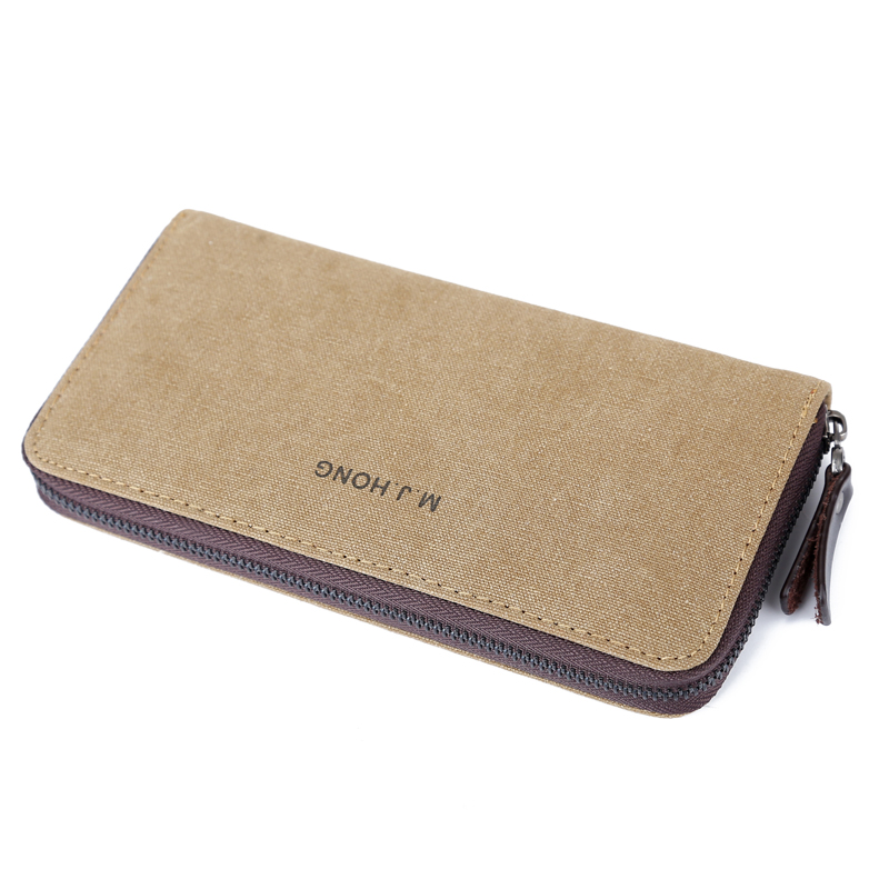 купить Fashion Canvas Wallet Purse Men Solid Color Casual Men Long Wallet Zipper Leisure Male Wallet Card Holder Phone Clutch Bag 1320 по цене 622.86 рублей