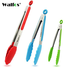 WALFOS Stainless steel Silicone Kitchen Tongs BBQ Clip Salad Bread Cooking Food Serving Tools