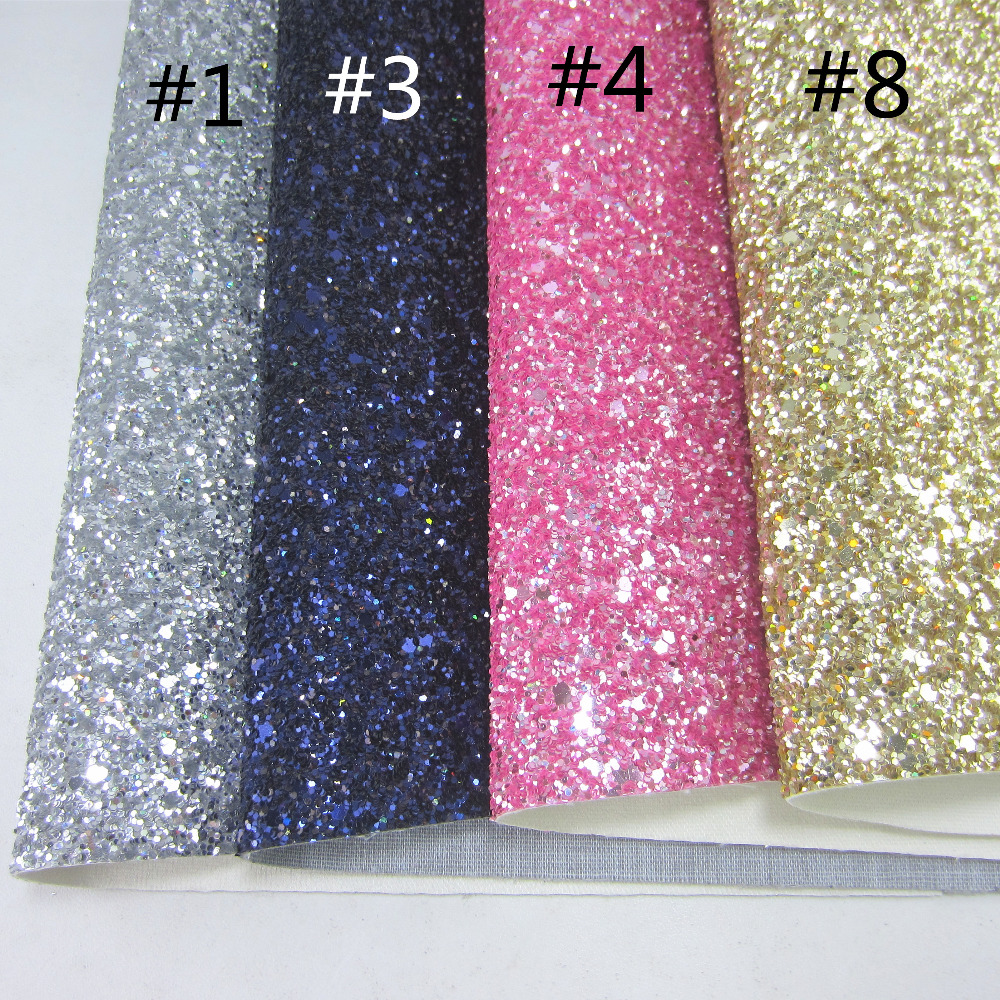 30x134cm Silver Gold Chunky Glitter Fabric Leather Synthetic PU Leather Fabric For Bows Bags Home Decorative DIY CN291