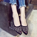 2016 summer new fashion women's singles pointed flat shoes hollow tunnel comfortable walking shoes, casual shoes