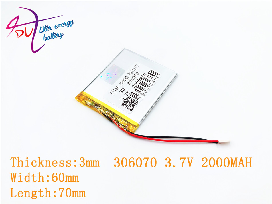 306070 036070 3.7V 2000mAh Lithium Polymer LiPo Rechargeable Battery cells power For GPS Vedio Game E-Book Tablet PC Power Bank 3 7v 6000mah 40140100 lithium polymer li po rechargeable battery cells for gps psp dvd power bank pad diy e book tablet pc