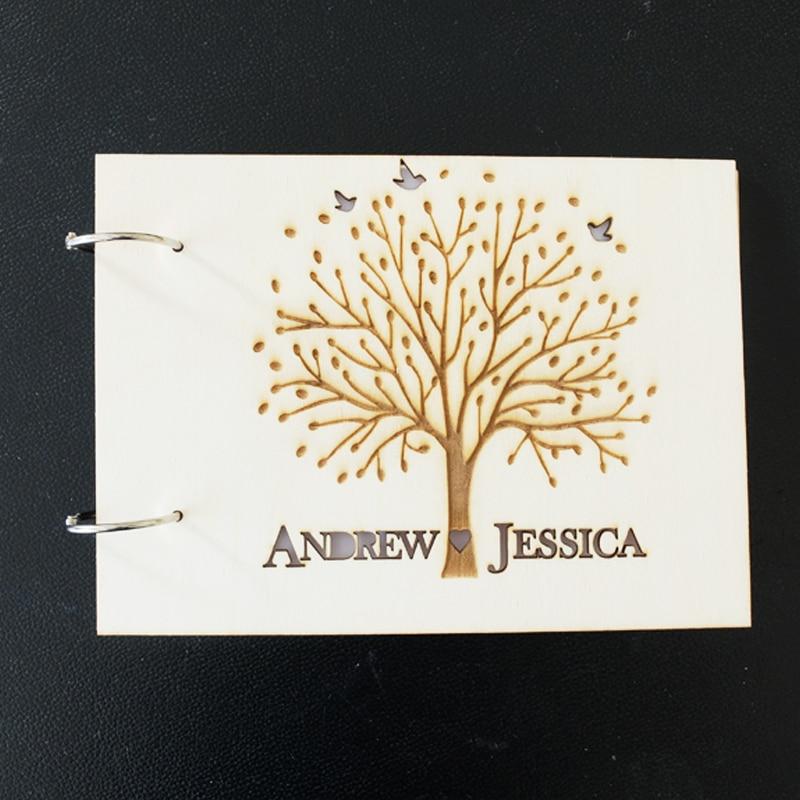 Livro de hóspedes do casamento de madeira, álbum de fotos de nomes - Para feriados e festas