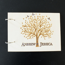 Wooden Wedding Guest Book,Custom Names Photo Album with Tree and Birds,Personalized Wedding Guest Book,Rustic Wedding Decoration