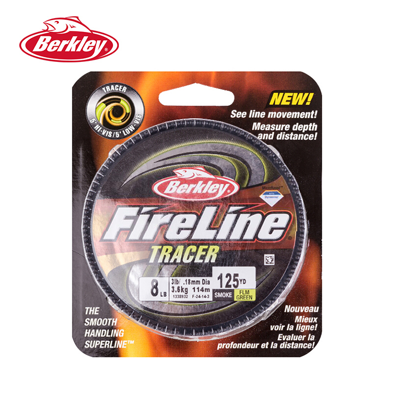Berkley Fireline Fused Tracer 125yd/114m Fishing Line Strongest Most Abrasion-?Resistant Superline Unique Color Fishing Tackles