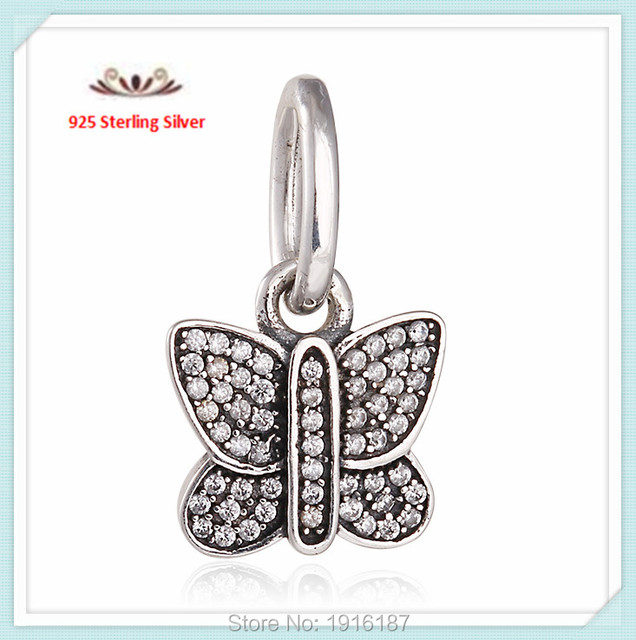 2015 Spring Collection cz micro pave Butterfly 925 Sterling Silver dangle charm pendants For European Bracelets Necklaces