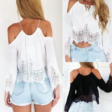 Fashion Sexy Women Lady Girl Summer Long Sleeve Off Shoulder Hollow Out Lace Tops Tee Loose Blouse
