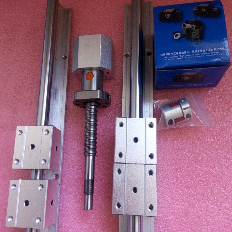 6 sets linear guideway Rail SBR16-500/1000/1200mm+ 3 ballscrews 1605-550/1050/1250mm +3 bk12bf12 +3 shaft couplings linear shaft rail high precision guideway linear rail unit