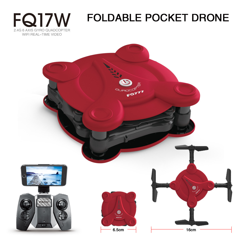 FQ17W Drone with 2MP Camera 2.4G 6 Axis Gyro Mini Wi Fi FPV Foldable RTF RC cat Quadcopter Altitude Hold Headless Mode