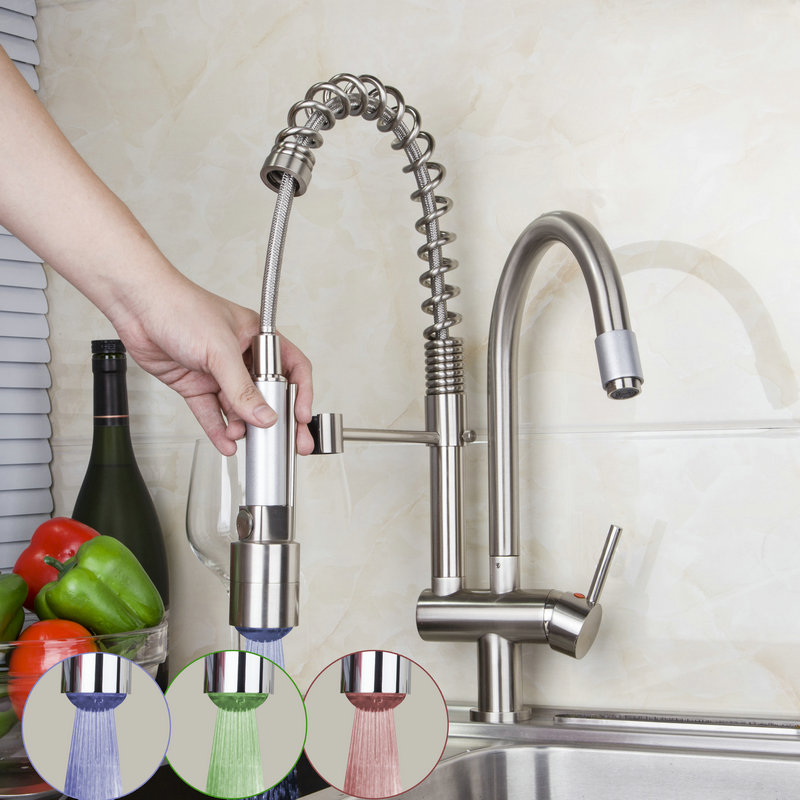 Kitchen Sink Swivel Spout Sink Vessel Faucet Single Handle Hole Mixer Tap Double Water Spout Deck Mounted torniera good quality wholesale and retail chrome finished pull out spring kitchen faucet swivel spout vessel sink mixer tap lk 9907