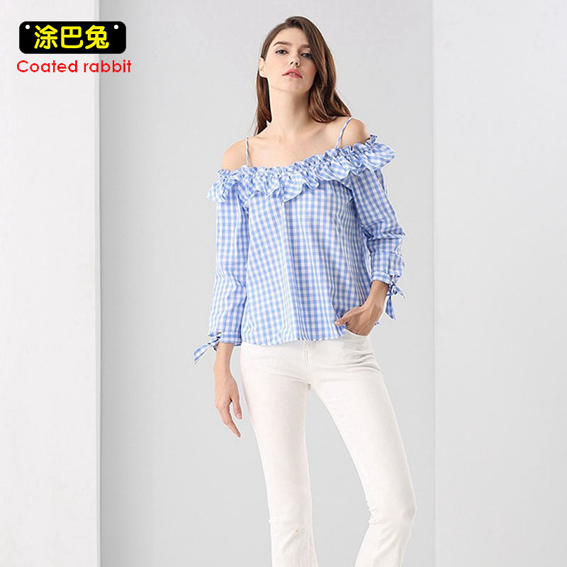 CR 2018 Off Shoulder Sexy Blouse Women Top Spring Fashion Strap Slash neck Ruffle Paid Casual Blouses Shirt
