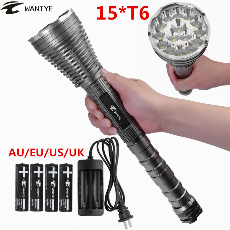 15T6 LED Flashlight Lanterna 30000lm 15x XML T6 led Torch Self Defense Tactical Flash light 5 Modes lamp+18650 battery/charger 6000 lm 3 led xm l t6 led flashlight torch 3t6 self defense lanterna 16850 flash light linterna led battery charger