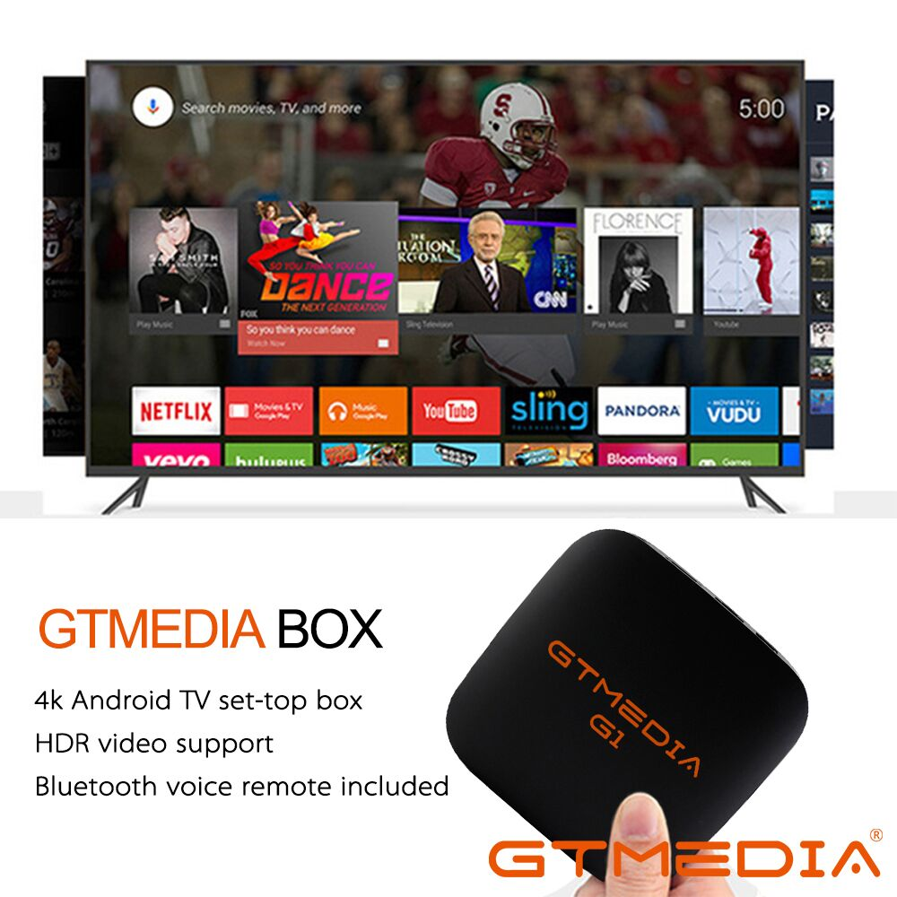 GTmedia G1 Android TV Box Smart TV 4K H.265 HDR Quad Core 1G 8G WIFI Google Cast France M3u Set Top Box 4 Media Player
