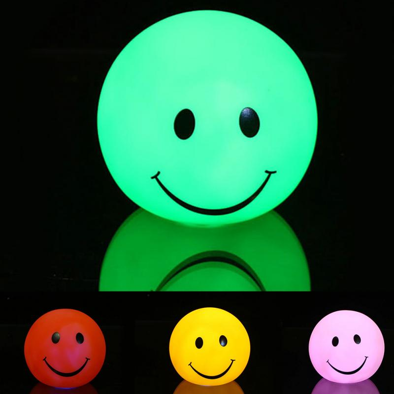 1 Pcs Lovely Baby Night Light changable Color Round Smile Face LED Night Light Lamp Great Gift for Kids u pick fashion lovely smile face transparent tpu backpack