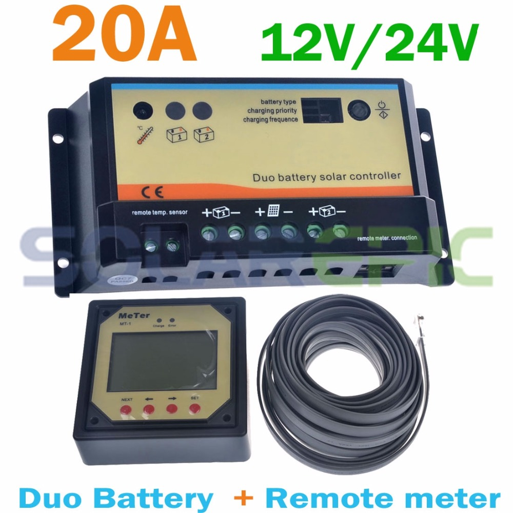 20A PWM Duo Battery Solar Panel Charge Controller Regulator 12V/24V + Remote Meter MT 1 Control Dual Solar Controller Charger CE