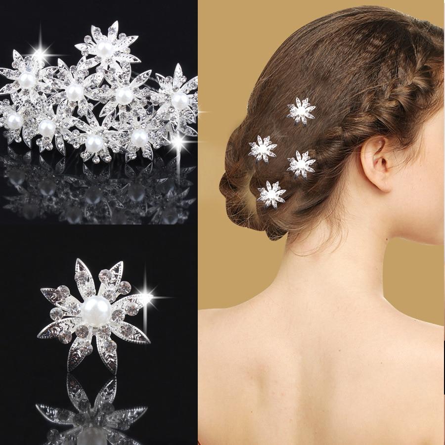 White Flower For Hair Wedding: 10pcs/lot Fashion Charming Crystal Wedding Hair