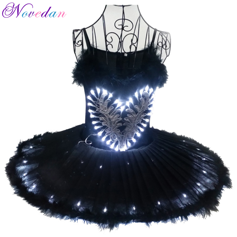 2019 Professional LED Light Black White Swan Lake Ballet Tutu Costume Girls Ballerina Dress Kids Dancewear