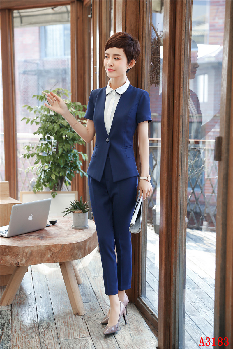 New Styles 2018 Summer Formal 2 Piece With Jackets And Pants Women Blazers Professional Career Interview Job Female Trousers Set