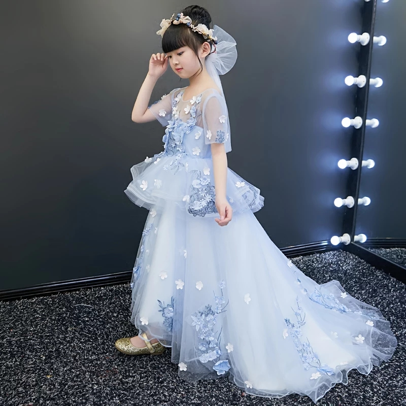 2018Summer New Luxury Children Girls Flowers Birthday Wedding Party Long Tail Dress Kids Babies Tutu Model Show Pageant Dress high neck button embellished knitted sweater
