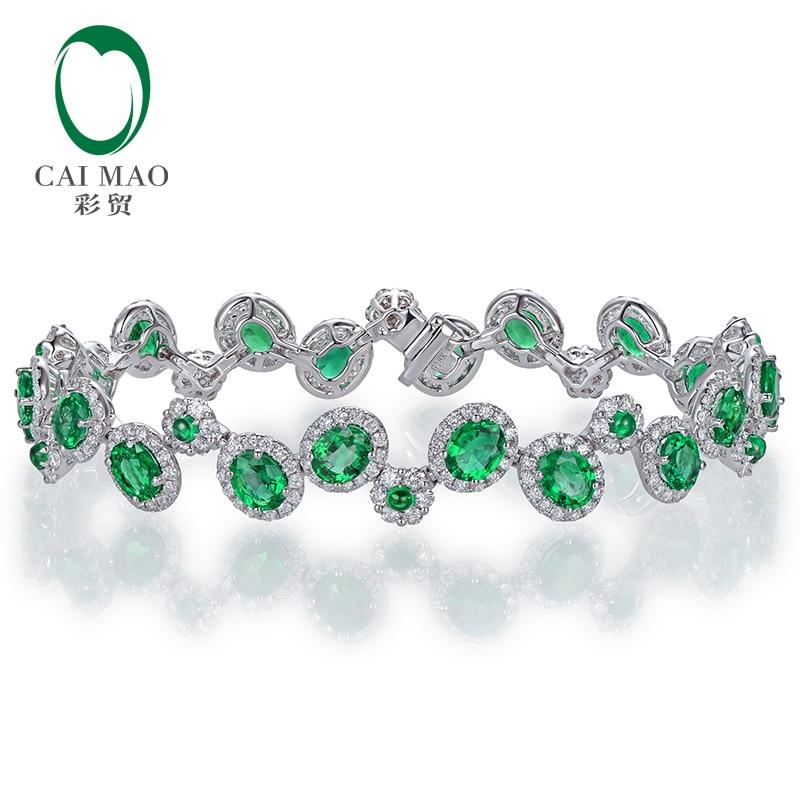CAIMAO 6.35ctw Natural Emeralds Bracelet H SI Full Cut Diamond 18kt Gold Gemstone for Anniversary Fine Jewellery