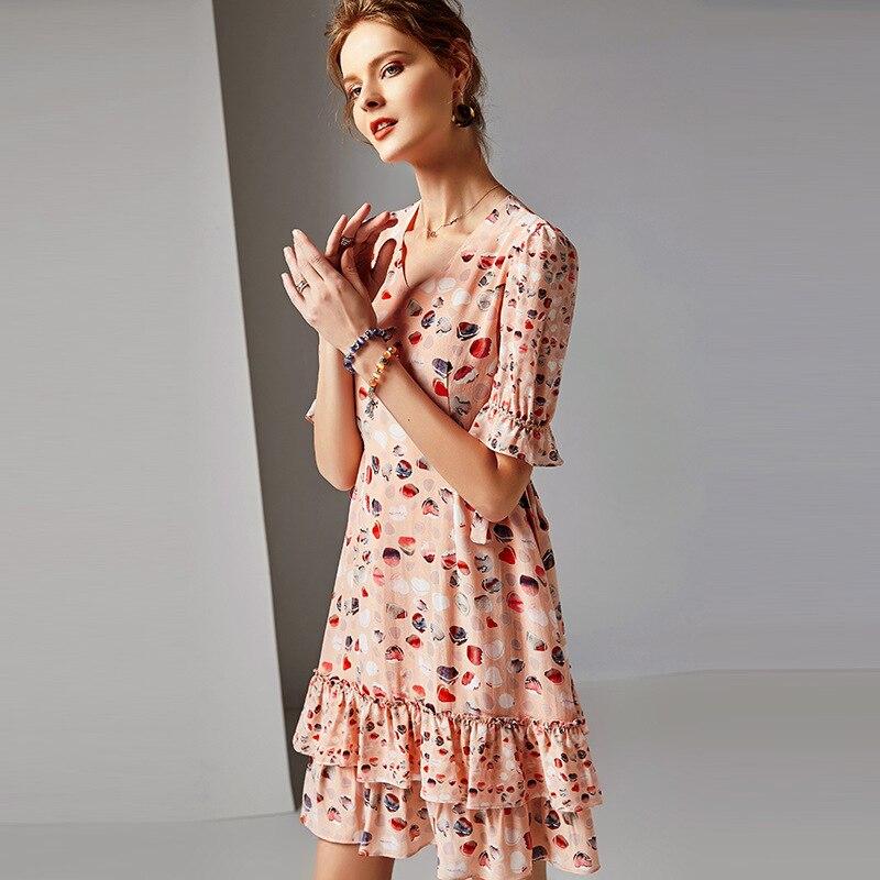 Nouvelles Soie Col Office Ruches Demi 2019 Plage Femmes D'été A ligne Fête Lady Manches V Mini Rose Robe De Bohème Tenue Printemps tsCBrxhQd