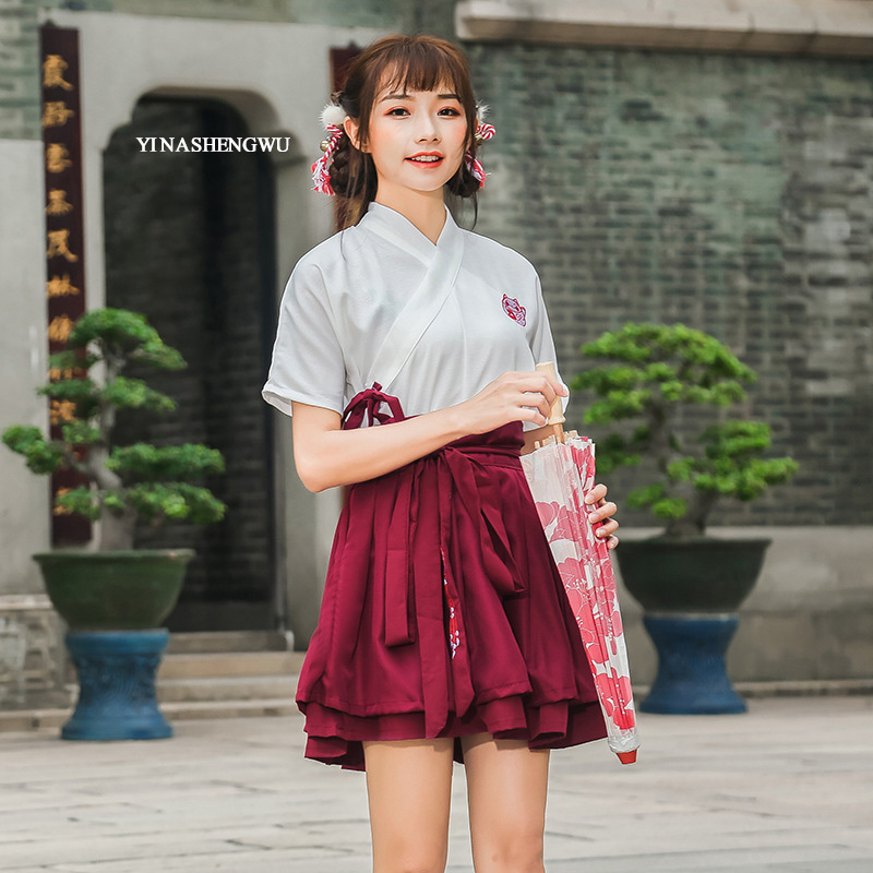Hanfu Costume Dress Women Improved Hanfu Daily Short Sleeve Hanfu Embroidered Crossdresses Costumes Han Elements Student Set 16